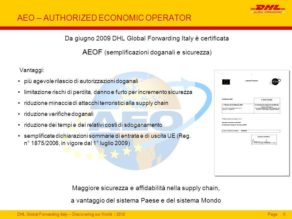 DHL Global Forwarding Italy – Discovering our World | 2012Page9 AEO – AUTHORIZED ECONOMIC OPERATOR Vantaggi: più agevole rilascio di autorizzazioni do