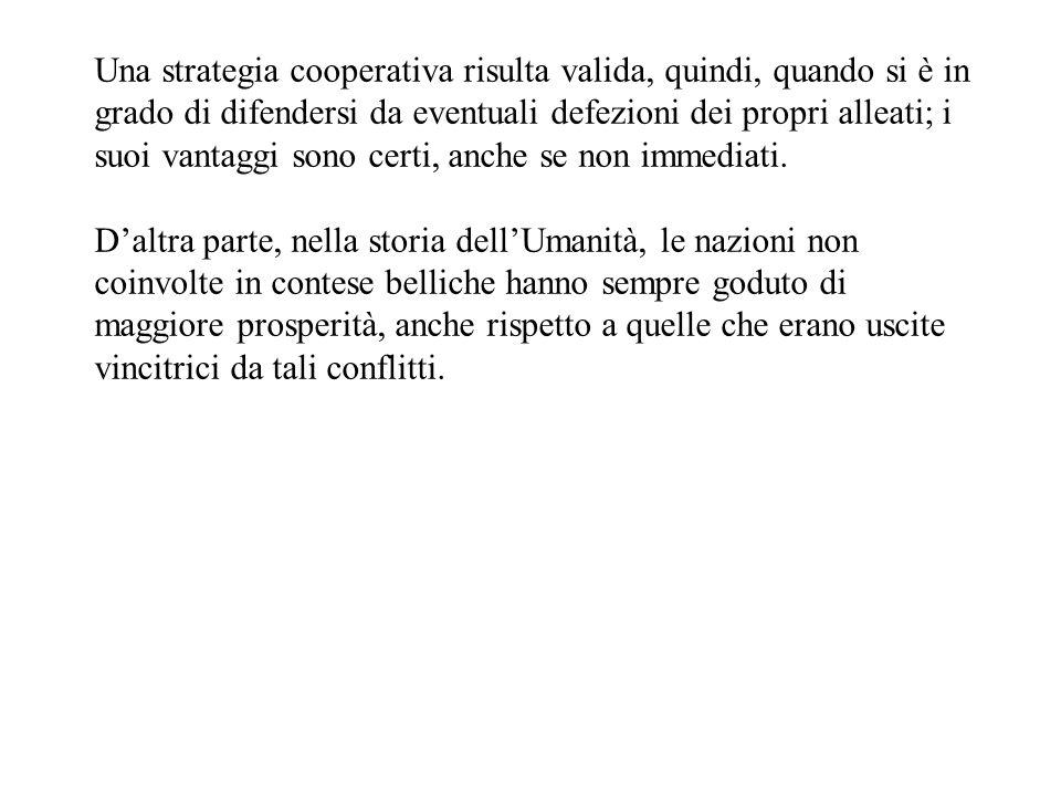 Una strategia cooperativa risulta valida, quindi, quando si è in grado di difendersi da eventuali defezioni dei propri alleati; i suoi vantaggi sono certi, anche se non immediati.