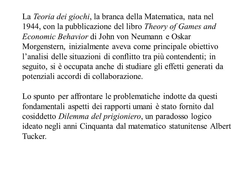 La Teoria dei giochi, la branca della Matematica, nata nel 1944, con la pubblicazione del libro Theory of Games and Economic Behavior di John von Neumann e Oskar Morgenstern, inizialmente aveva come principale obiettivo lanalisi delle situazioni di conflitto tra più contendenti; in seguito, si è occupata anche di studiare gli effetti generati da potenziali accordi di collaborazione.