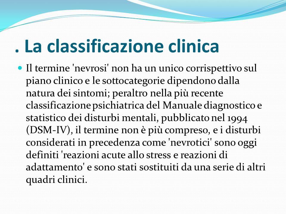 . La classificazione clinica Il termine 'nevrosi' non ha un unico corrispettivo sul piano clinico e le sottocategorie dipendono dalla natura dei sinto