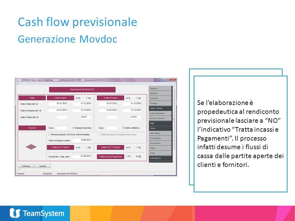 A lato i parametri richiesti in fase di generazione del Movdoc. I DDT dei fornitori vanno trattati sono se valorizzati (generati da ordini). Cash flow