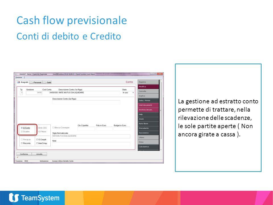 La gestione ad estratto conto permette di trattare, nella rilevazione delle scadenze, le sole partite aperte ( Non ancora girate a cassa ). Cash flow
