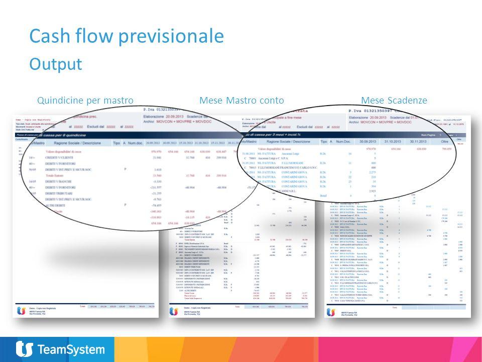 Cash flow previsionale Output Quindicine per mastroMese Mastro contoMese Scadenze