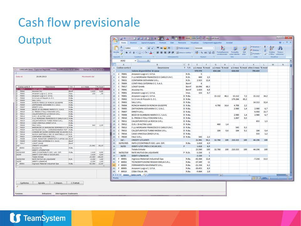 Cash flow previsionale Output