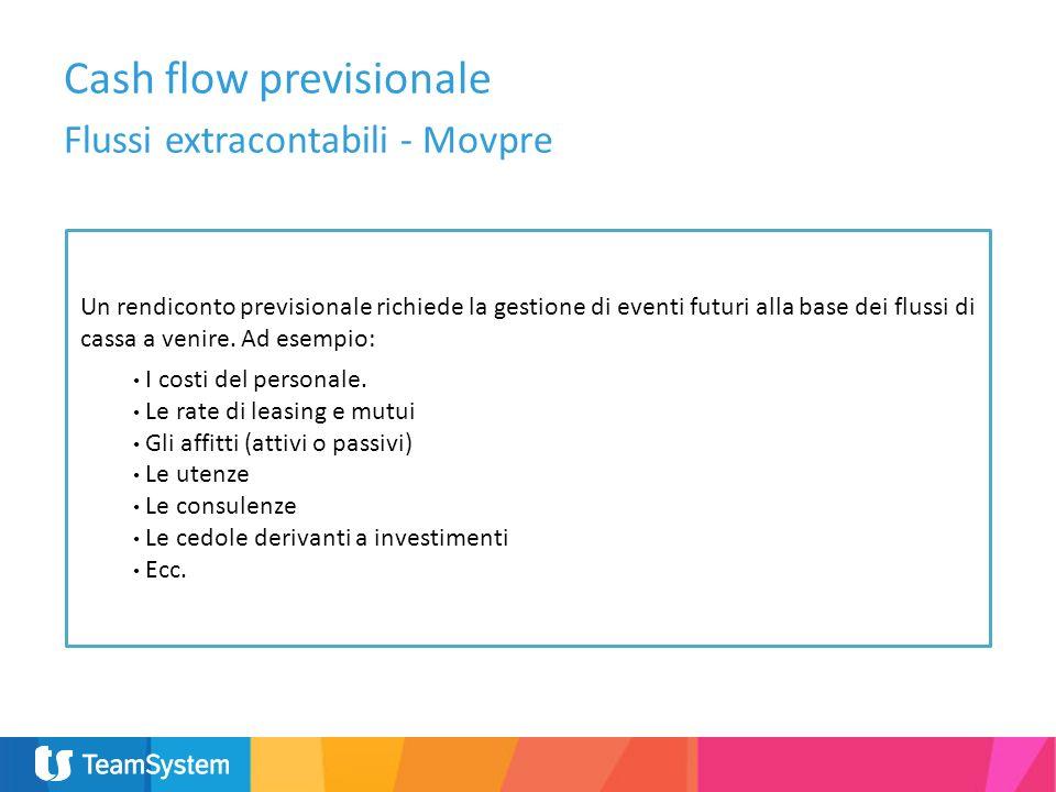 Conti che determinano il saldo attuale di cassa Cash flow previsionale Elenco Conti per saldo di Cassa