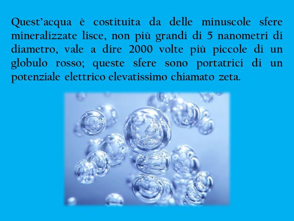 Questacqua è costituita da delle minuscole sfere mineralizzate lisce, non più grandi di 5 nanometri di diametro, vale a dire 2000 volte più piccole di