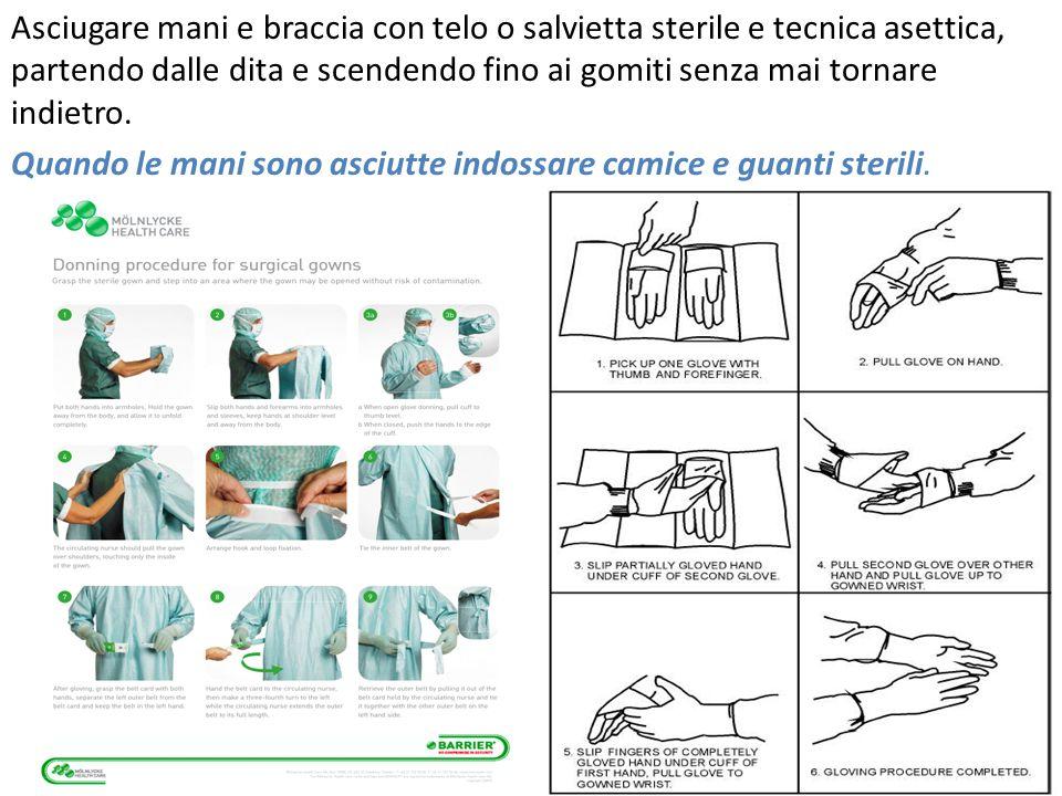 Asciugare mani e braccia con telo o salvietta sterile e tecnica asettica, partendo dalle dita e scendendo fino ai gomiti senza mai tornare indietro.