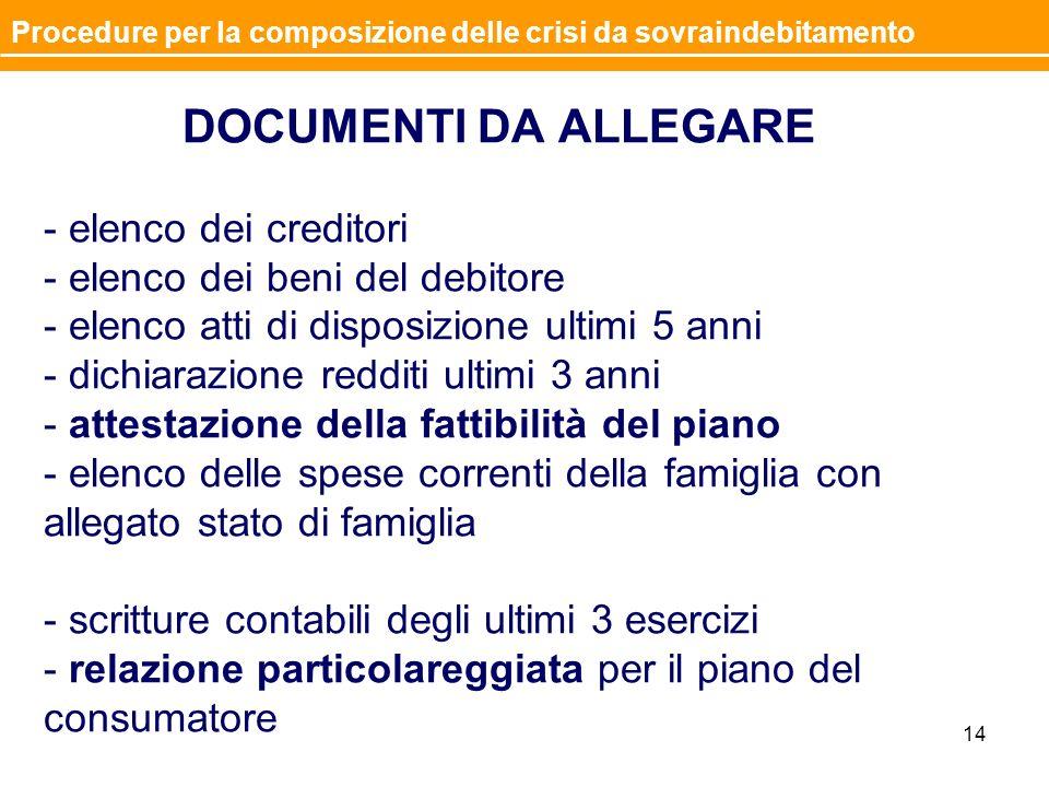 Documentazione da allegare allistanza DOCUMENTI DA ALLEGARE - elenco dei creditori - elenco dei beni del debitore - elenco atti di disposizione ultimi