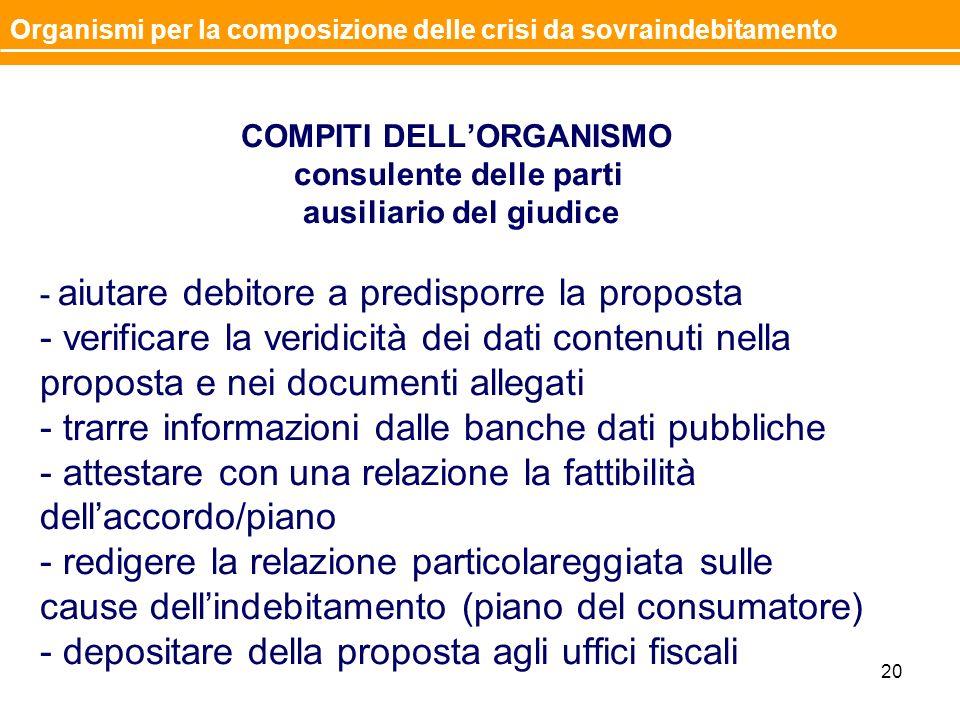 COMPITI DELLORGANISMO consulente delle parti ausiliario del giudice - aiutare debitore a predisporre la proposta - verificare la veridicità dei dati c