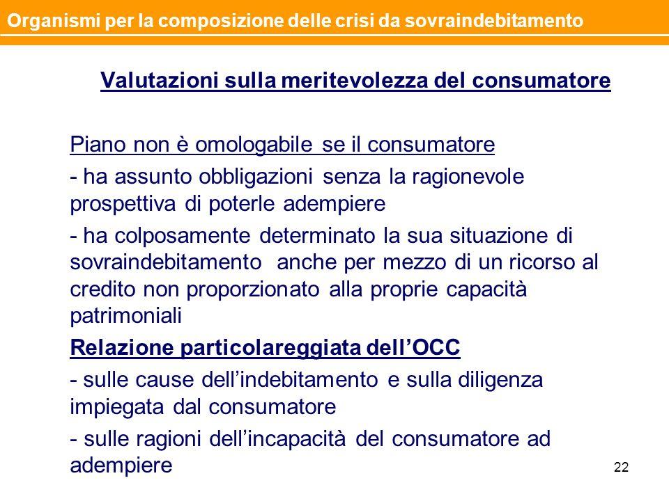 Valutazioni sulla meritevolezza del consumatore Piano non è omologabile se il consumatore - ha assunto obbligazioni senza la ragionevole prospettiva d