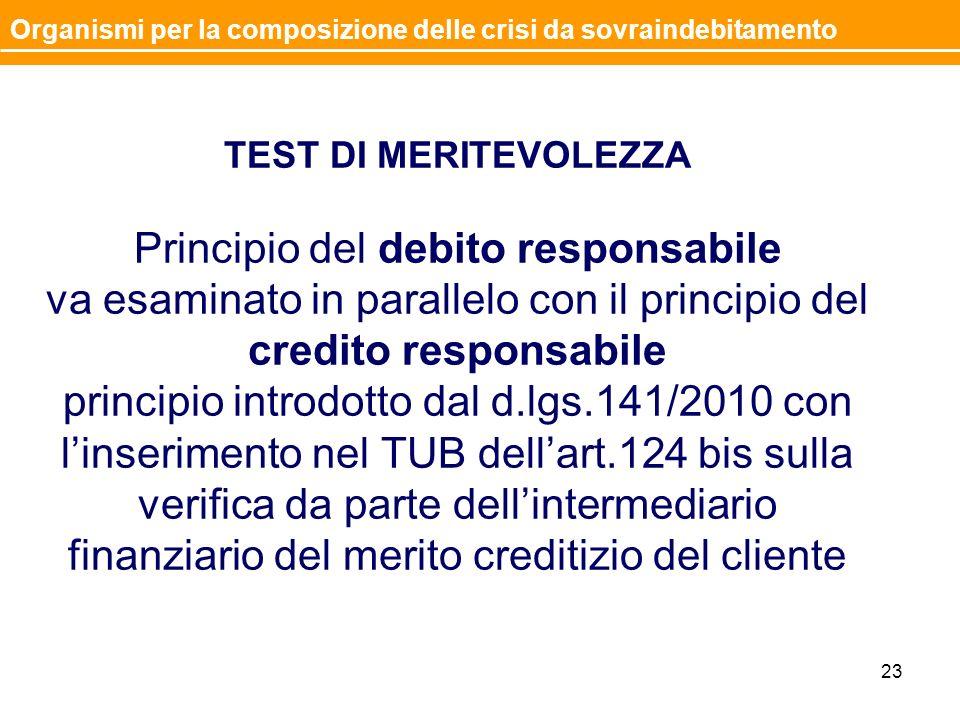 TEST DI MERITEVOLEZZA Principio del debito responsabile va esaminato in parallelo con il principio del credito responsabile principio introdotto dal d