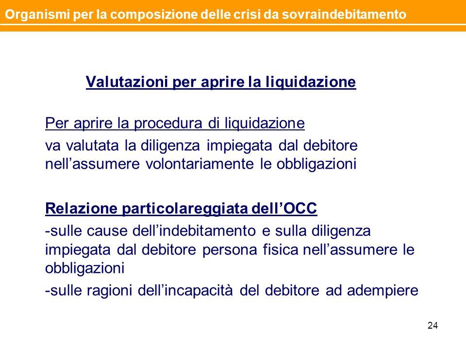 Valutazioni per aprire la liquidazione Per aprire la procedura di liquidazione va valutata la diligenza impiegata dal debitore nellassumere volontaria