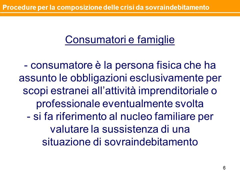 Consumatori e famiglie - consumatore è la persona fisica che ha assunto le obbligazioni esclusivamente per scopi estranei allattività imprenditoriale