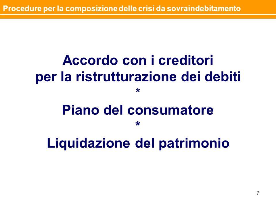 Accordo con i creditori per la ristrutturazione dei debiti * Piano del consumatore * Liquidazione del patrimonio 7 Procedure per la composizione delle