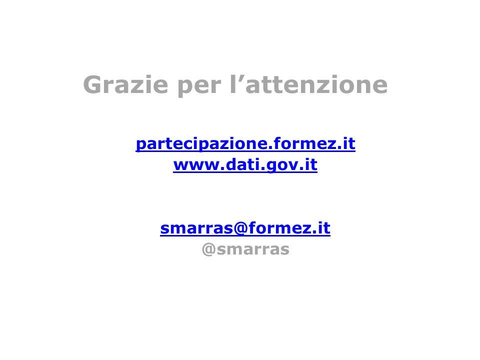 Grazie per lattenzione partecipazione.formez.it www.dati.gov.it smarras@formez.it @smarras