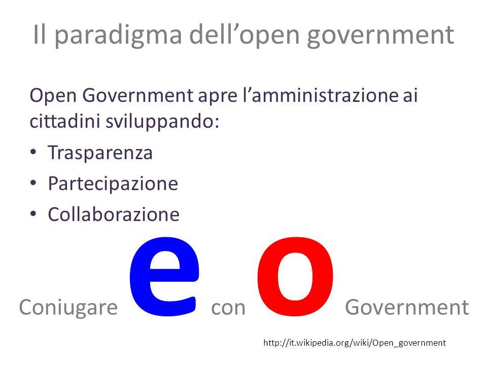Il paradigma dellopen government Open Government apre lamministrazione ai cittadini sviluppando: Trasparenza Partecipazione Collaborazione http://it.wikipedia.org/wiki/Open_government Coniugare e con o Government