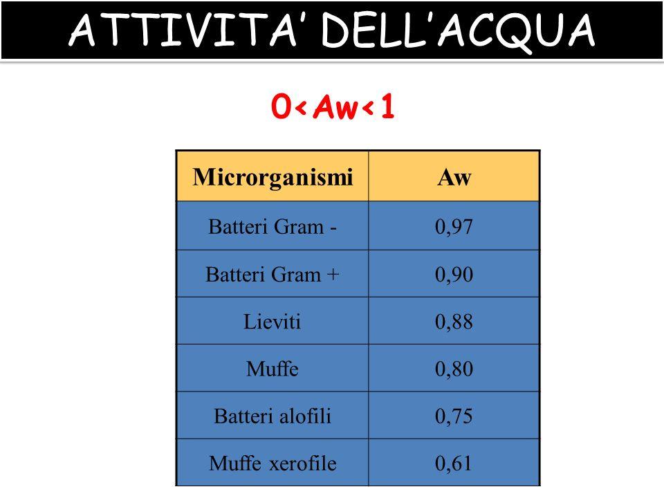 26 LIVELLI MINIMI DI A W CHE CONSENTONO LA CRESCITA (alla temperatura ottimale) MuffeAspergillus chevalieri0.71 Aspergillus ochraceus0.78 Aspergillus flavus 0.80 Penicillium verrucosum0.79 Fusarium moniliforme0.87 LievitiSaccharomyces rouxii0.62 Saccharomyces cerevisiae 0.90 BatteriBacillus cereus0.92 Clostridium botulinum (proteolitico)0.93 Clostridium botulinum (non proteolitico)0.97 Escherichia coli0.93 Salmonella0.95 Staphylococcus aureus0.83 MuffeAspergillus chevalieri0.71 Aspergillus ochraceus0.78 Aspergillus flavus 0.80 Penicillium verrucosum0.79 Fusarium moniliforme0.87 LievitiSaccharomyces rouxii0.62 Saccharomyces cerevisiae 0.90 BatteriBacillus cereus0.92 Clostridium botulinum (proteolitico)0.93 Clostridium botulinum (non proteolitico)0.97 Escherichia coli0.93 Salmonella0.95 Staphylococcus aureus0.83 ATTIVITA DELLACQUA