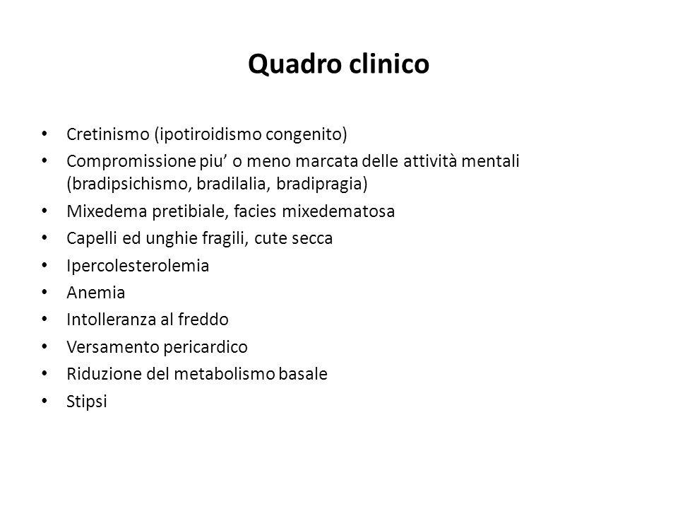 Quadro clinico Cretinismo (ipotiroidismo congenito) Compromissione piu o meno marcata delle attività mentali (bradipsichismo, bradilalia, bradipragia)