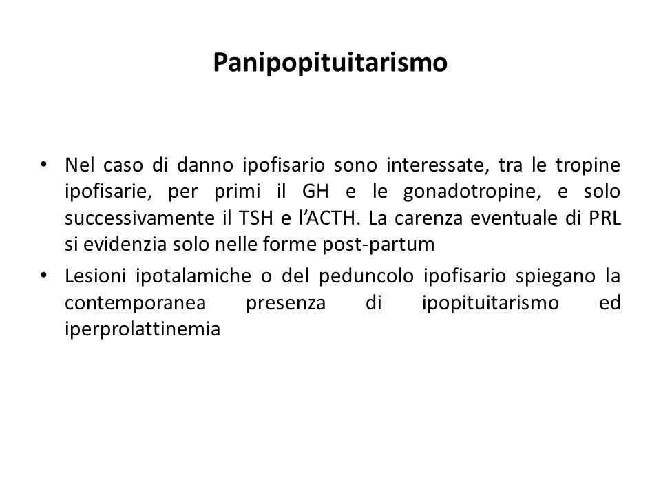 Panipopituitarismo Nel caso di danno ipofisario sono interessate, tra le tropine ipofisarie, per primi il GH e le gonadotropine, e solo successivament
