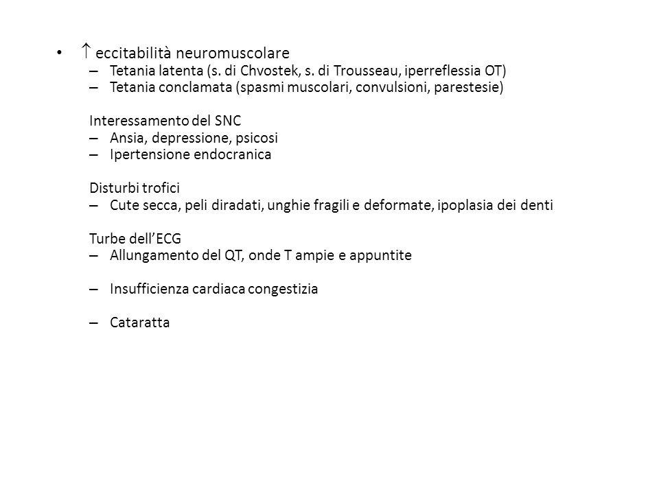 eccitabilità neuromuscolare – Tetania latenta (s. di Chvostek, s. di Trousseau, iperreflessia OT) – Tetania conclamata (spasmi muscolari, convulsioni,