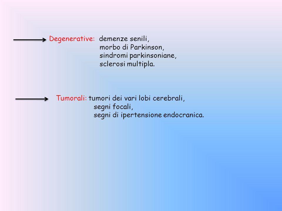 Degenerative: demenze senili, morbo di Parkinson, sindromi parkinsoniane, sclerosi multipla. Tumorali: tumori dei vari lobi cerebrali, segni focali, s