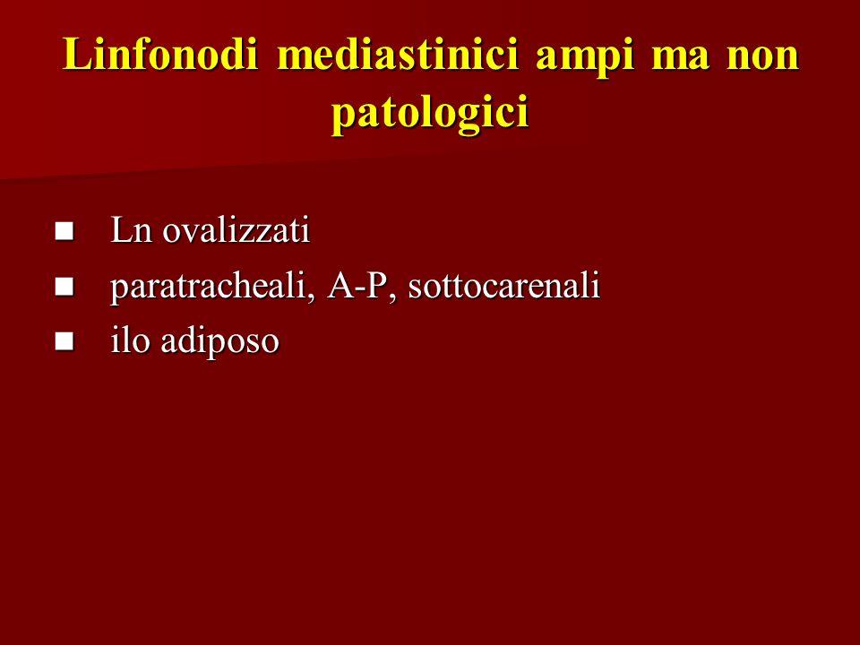 Linfonodi mediastinici ampi ma non patologici Ln ovalizzati Ln ovalizzati paratracheali, A-P, sottocarenali paratracheali, A-P, sottocarenali ilo adip