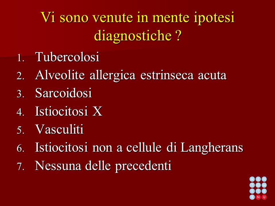 Vi sono venute in mente ipotesi diagnostiche ? 1. Tubercolosi 2. Alveolite allergica estrinseca acuta 3. Sarcoidosi 4. Istiocitosi X 5. Vasculiti 6. I