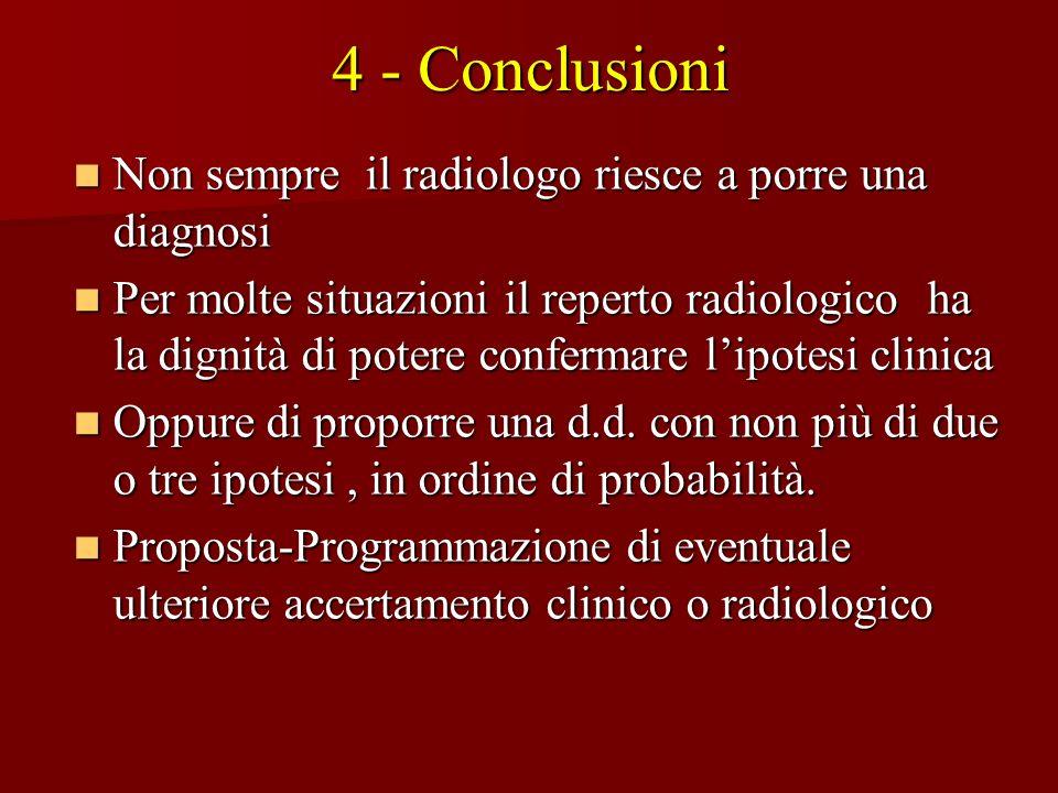 4 - Conclusioni Non sempre il radiologo riesce a porre una diagnosi Non sempre il radiologo riesce a porre una diagnosi Per molte situazioni il repert