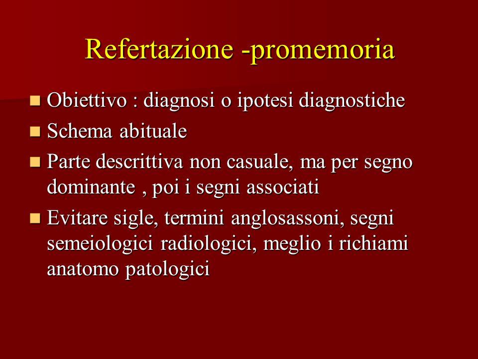 Refertazione -promemoria Obiettivo : diagnosi o ipotesi diagnostiche Obiettivo : diagnosi o ipotesi diagnostiche Schema abituale Schema abituale Parte