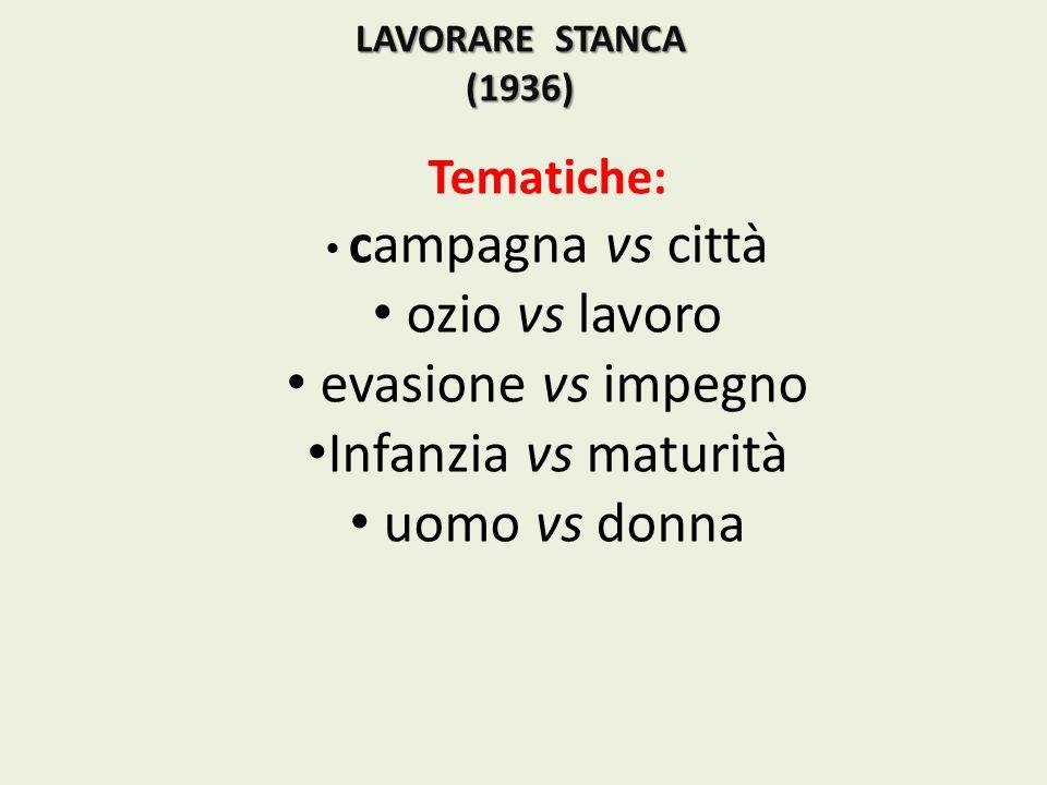 LAVORARE STANCA (1936) Tematiche: campagna vs città ozio vs lavoro evasione vs impegno Infanzia vs maturità uomo vs donna