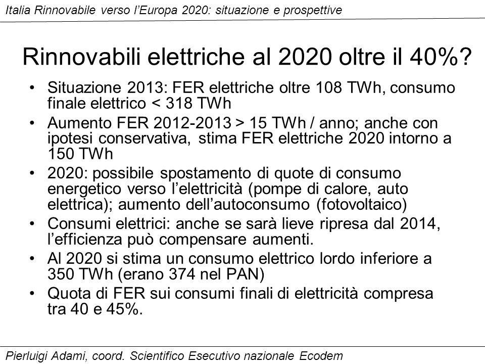 Rinnovabili elettriche al 2020 oltre il 40%.