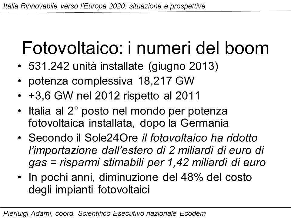 Fotovoltaico: i numeri del boom 531.242 unità installate (giugno 2013) potenza complessiva 18,217 GW +3,6 GW nel 2012 rispetto al 2011 Italia al 2° posto nel mondo per potenza fotovoltaica installata, dopo la Germania Secondo il Sole24Ore il fotovoltaico ha ridotto limportazione dallestero di 2 miliardi di euro di gas = risparmi stimabili per 1,42 miliardi di euro In pochi anni, diminuzione del 48% del costo degli impianti fotovoltaici Italia Rinnovabile verso lEuropa 2020: situazione e prospettive Pierluigi Adami, coord.