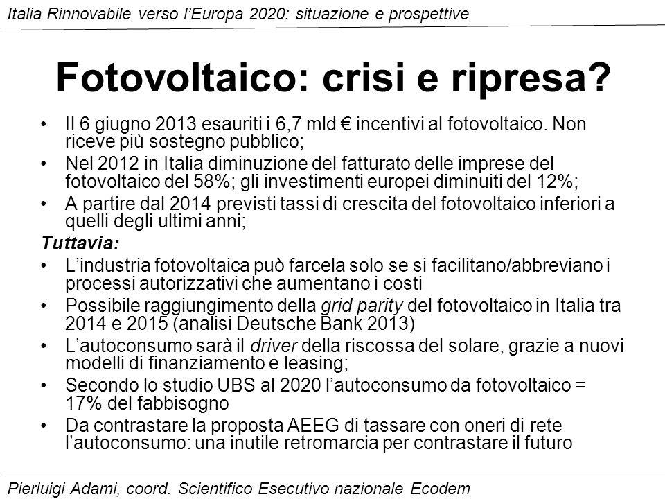Fotovoltaico: crisi e ripresa. Il 6 giugno 2013 esauriti i 6,7 mld incentivi al fotovoltaico.