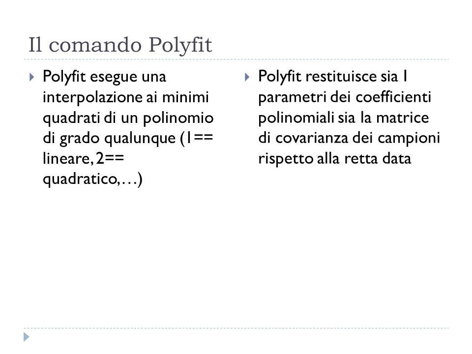 Il comando Polyfit Polyfit esegue una interpolazione ai minimi quadrati di un polinomio di grado qualunque (1== lineare, 2== quadratico,…) Polyfit res