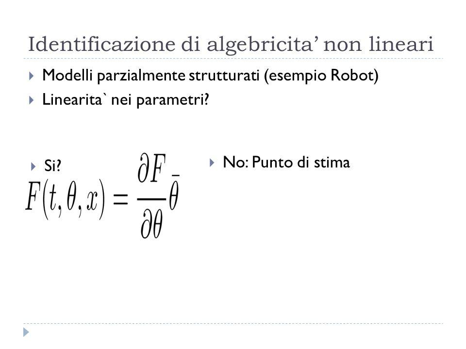 Identificazione di algebricita non lineari Modelli parzialmente strutturati (esempio Robot) Linearita` nei parametri? No: Punto di stima Si?