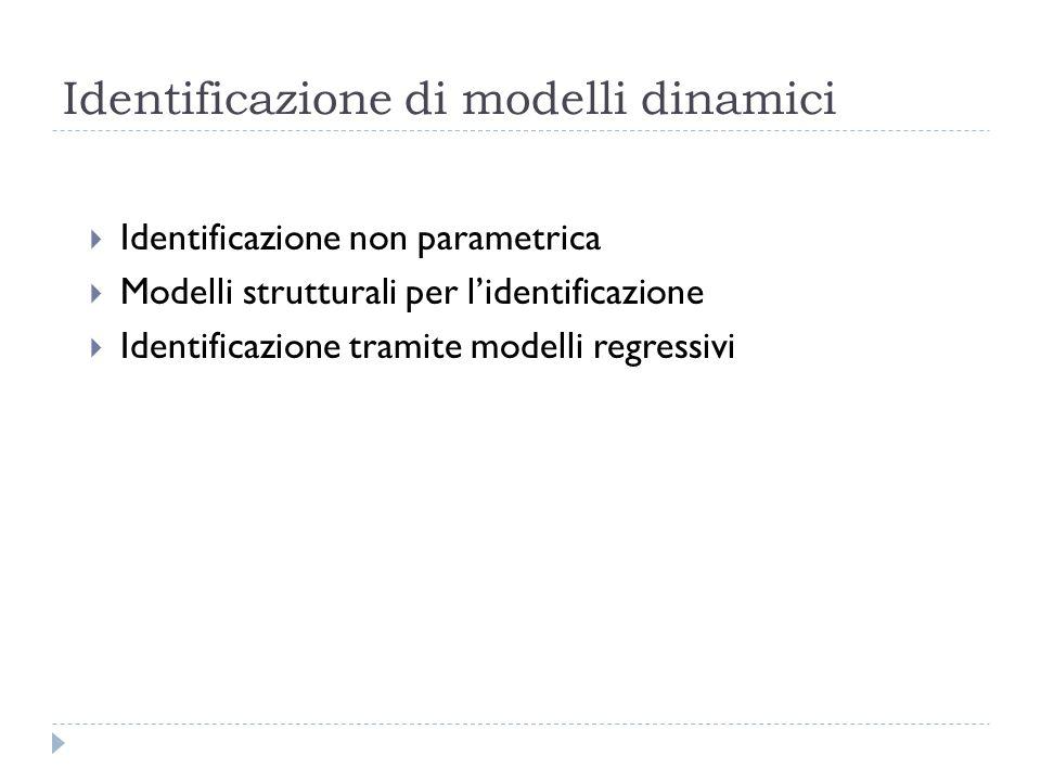 Identificazione di modelli dinamici Identificazione non parametrica Modelli strutturali per lidentificazione Identificazione tramite modelli regressiv