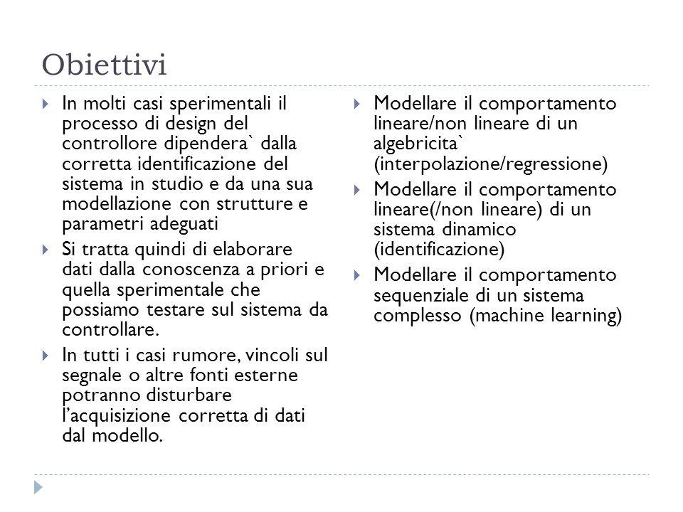 Obiettivi In molti casi sperimentali il processo di design del controllore dipendera` dalla corretta identificazione del sistema in studio e da una su