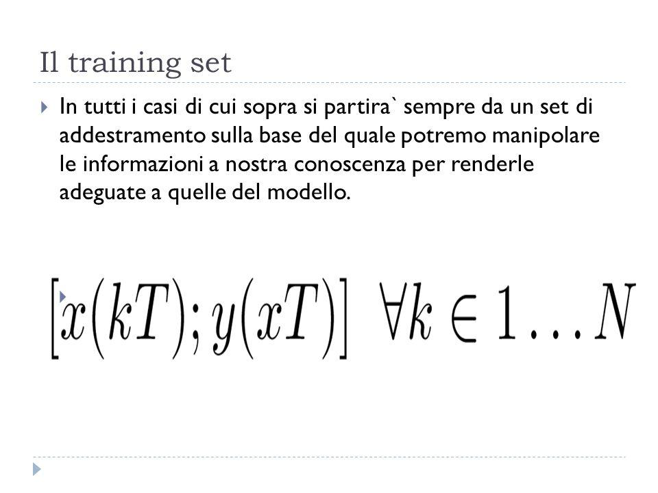Il training set In tutti i casi di cui sopra si partira` sempre da un set di addestramento sulla base del quale potremo manipolare le informazioni a n
