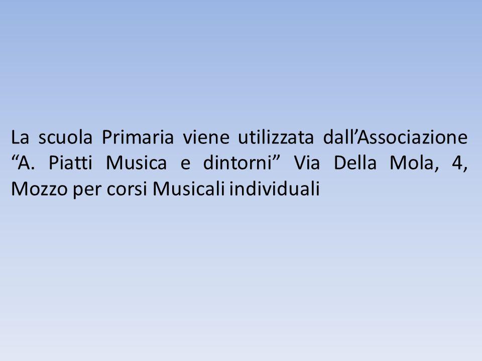 La scuola Primaria viene utilizzata dallAssociazione A. Piatti Musica e dintorni Via Della Mola, 4, Mozzo per corsi Musicali individuali