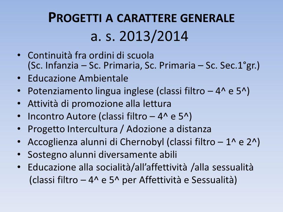 P ROGETTI A CARATTERE GENERALE a. s. 2013/2014 Continuità fra ordini di scuola (Sc.