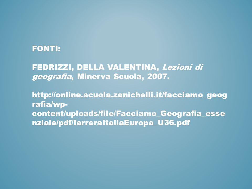 FONTI: FEDRIZZI, DELLA VALENTINA, Lezioni di geografia, Minerva Scuola, 2007. http://online.scuola.zanichelli.it/facciamo_geog rafia/wp- content/uploa