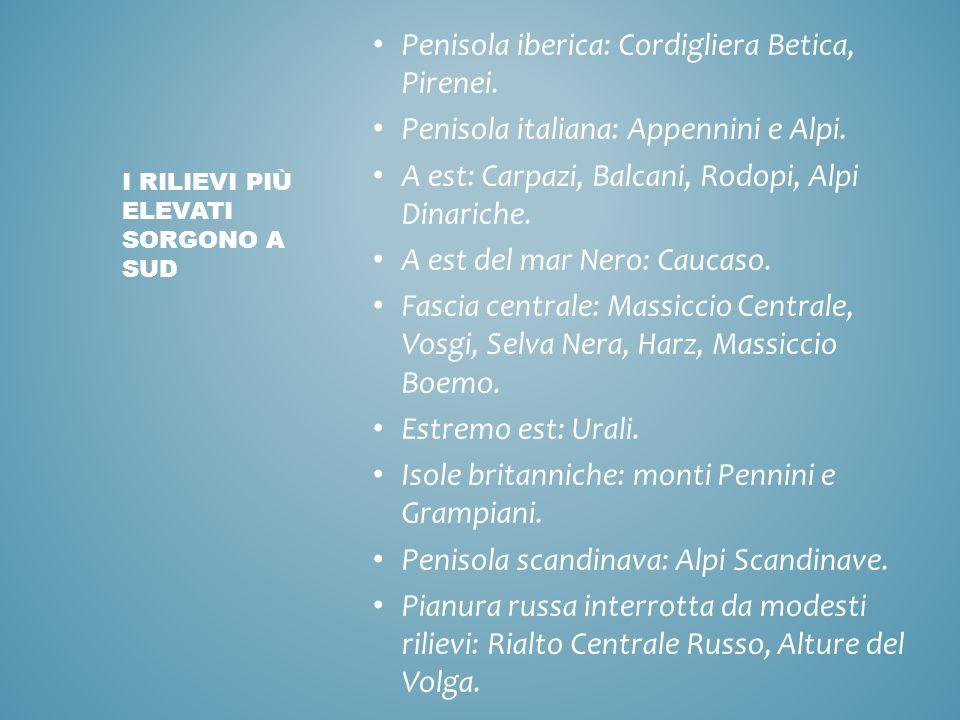 Penisola iberica: Cordigliera Betica, Pirenei. Penisola italiana: Appennini e Alpi. A est: Carpazi, Balcani, Rodopi, Alpi Dinariche. A est del mar Ner