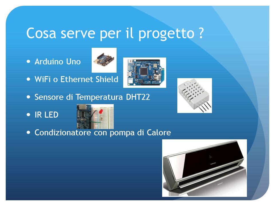 Cosa serve per il progetto ? Arduino Uno WiFi o Ethernet Shield Sensore di Temperatura DHT22 IR LED Condizionatore con pompa di Calore