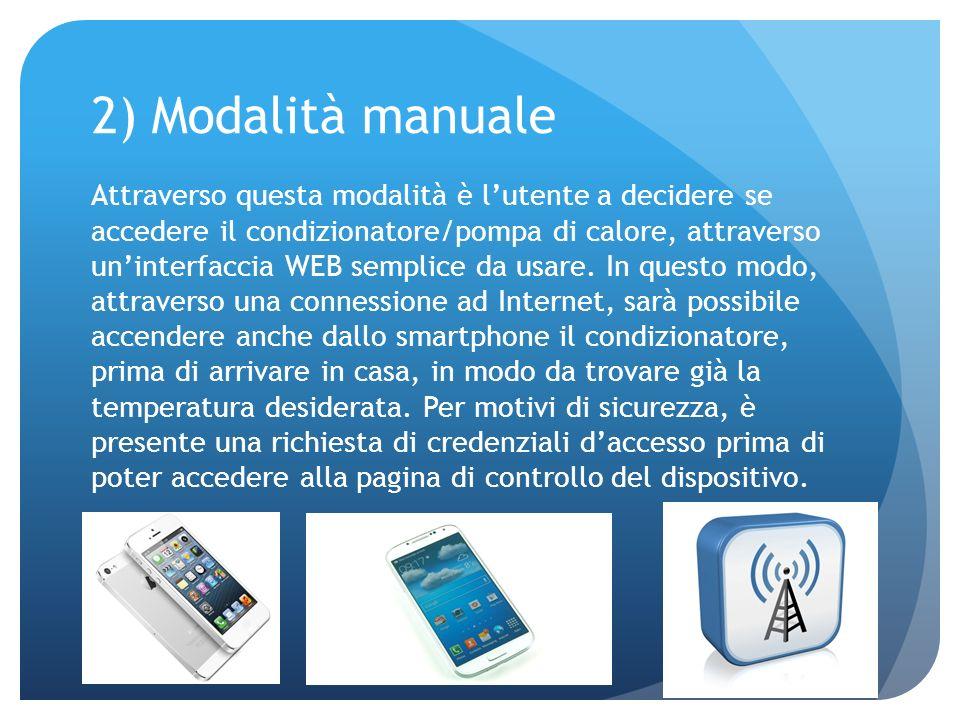 2) Modalità manuale Attraverso questa modalità è lutente a decidere se accedere il condizionatore/pompa di calore, attraverso uninterfaccia WEB sempli