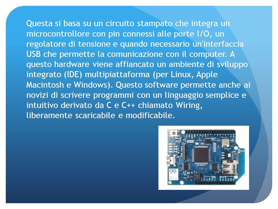 Questa si basa su un circuito stampato che integra un microcontrollore con pin connessi alle porte I/O, un regolatore di tensione e quando necessario