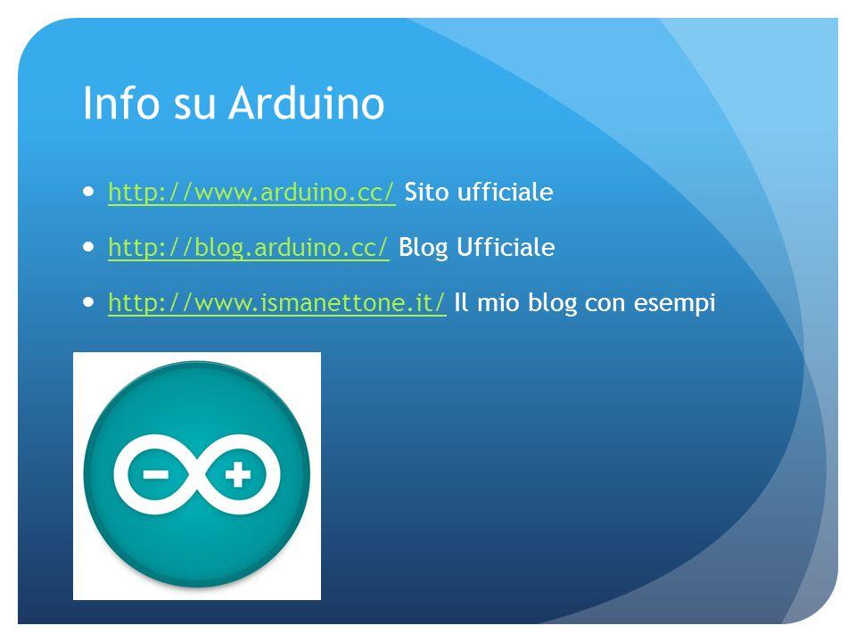 Info su Arduino http://www.arduino.cc/ Sito ufficiale http://www.arduino.cc/ http://blog.arduino.cc/ Blog Ufficiale http://blog.arduino.cc/ http://www
