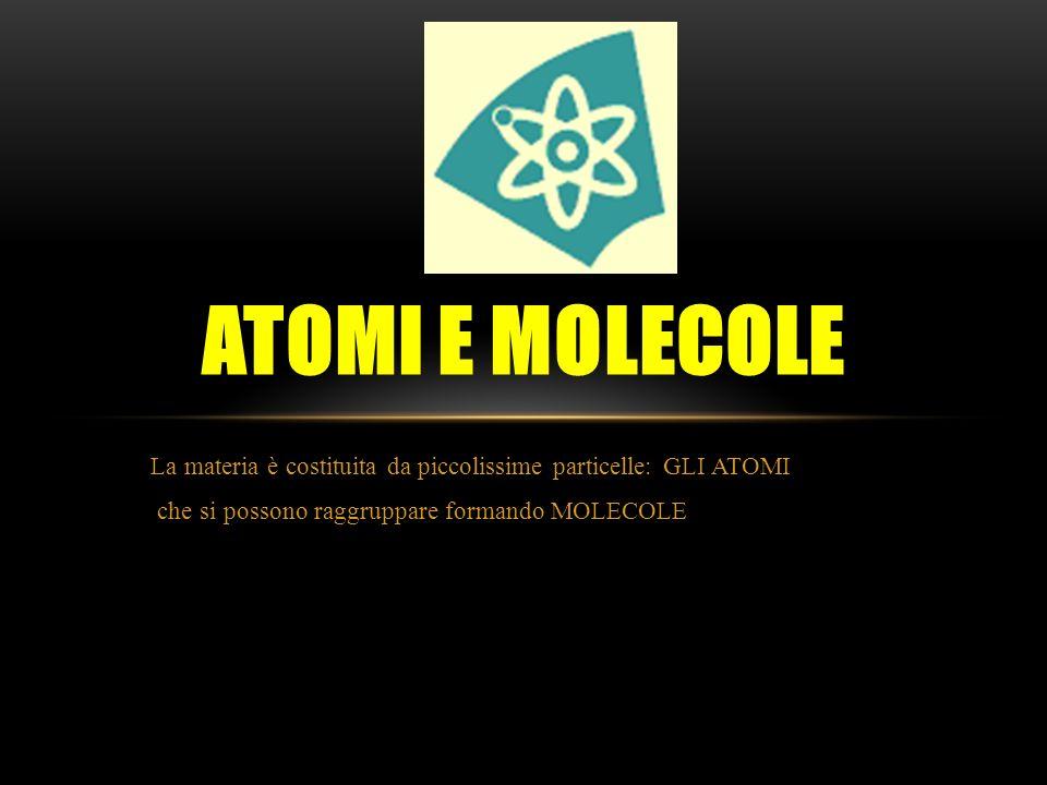 La materia è costituita da piccolissime particelle: GLI ATOMI che si possono raggruppare formando MOLECOLE ATOMI E MOLECOLE