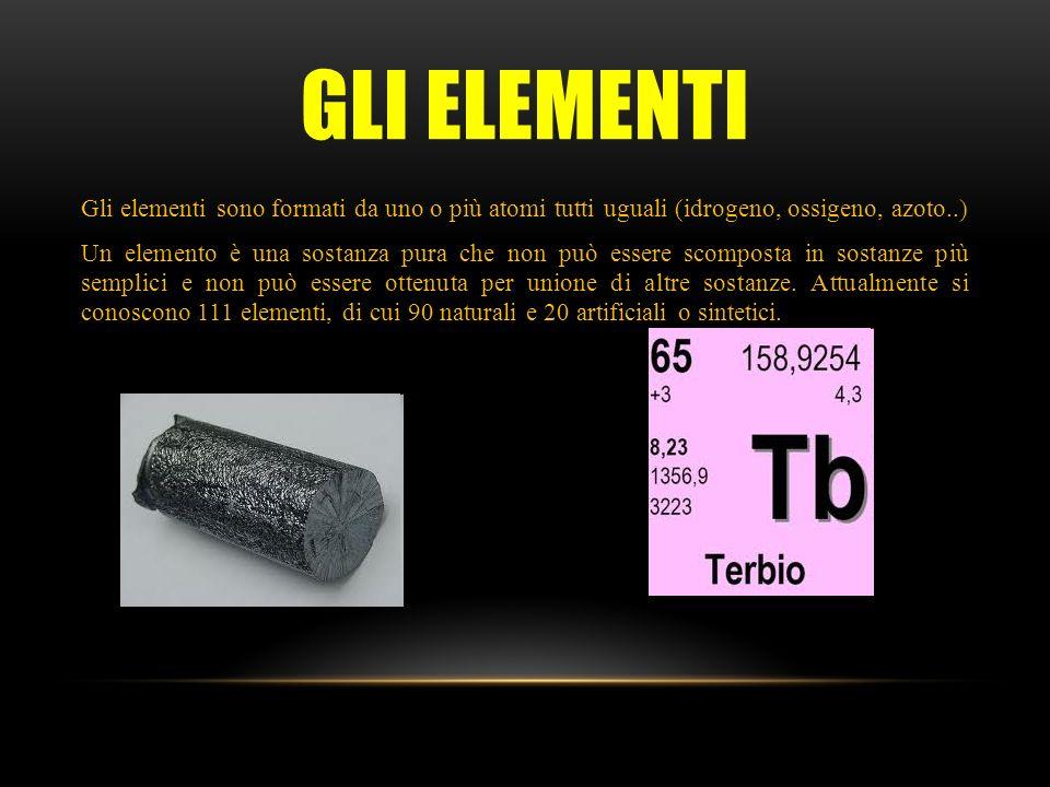 GLI ELEMENTI Gli elementi sono formati da uno o più atomi tutti uguali (idrogeno, ossigeno, azoto..) Un elemento è una sostanza pura che non può essere scomposta in sostanze più semplici e non può essere ottenuta per unione di altre sostanze.