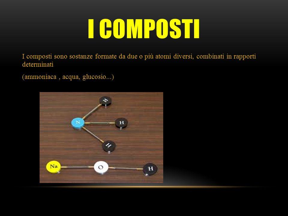 I COMPOSTI I composti sono sostanze formate da due o più atomi diversi, combinati in rapporti determinati (ammoniaca, acqua, glucosio...)