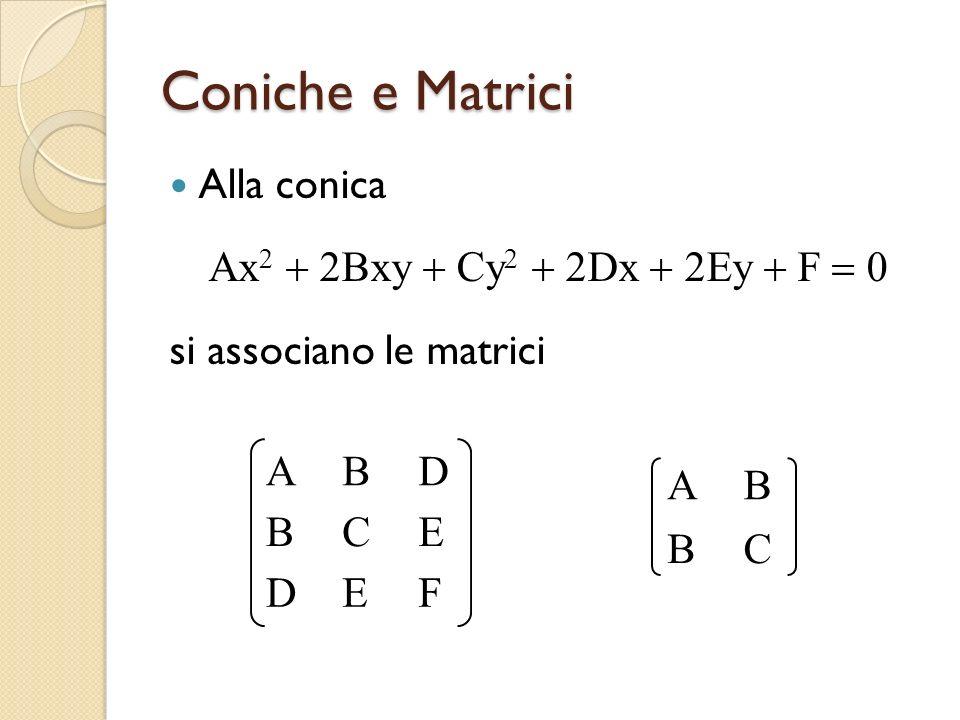Coniche e Matrici Alla conica Ax Bxy Cy Dx Ey F si associano le matrici ABD BCE DEF AB BC